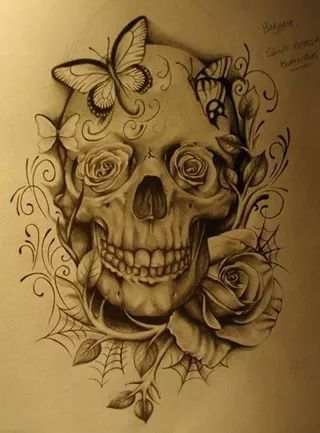 Diseno De Calavera Con Rosas Y Telaranas Para Tattoo Tattooideas Diseno De Tatuaje De Calavera Craneos Y Calaveras Tatuajes De Calaveras Mexicanas
