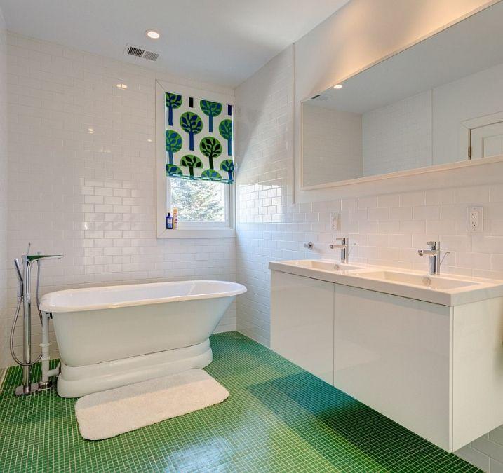 ides dcoration pour une salle de bain verte - Salle De Bain Mosaique Verte