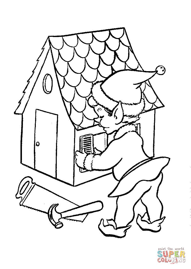 one-of-santas-elves-at-work-on-a-doll-house-coloring-page.jpg (784 ...