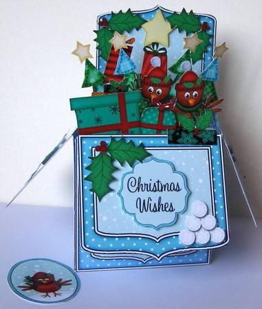 3D Xmas Robins Rubber Band Pop Up Box Card