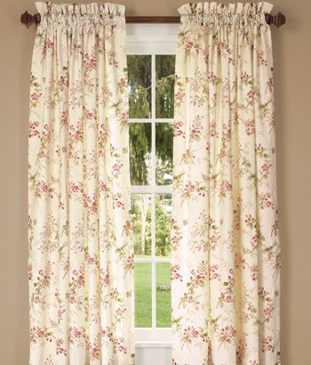 Sanctuary Rod Pocket Curtains.  Country Curtains.  A little expensive, but beautiful linen fabric and design.