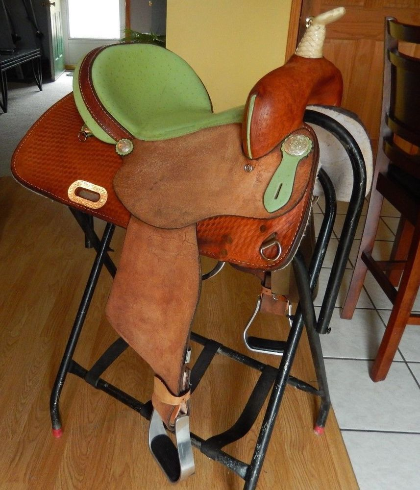 Western saddle chair - 14 Lime Green Circle A By American Saddlery Barrel Saddle Quality Ostrich Seat