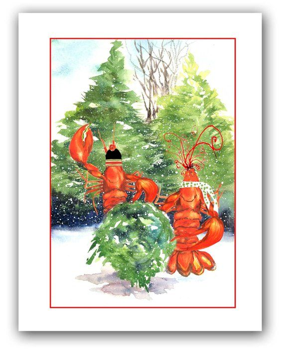 Lobster Christmas cards- set of 10- boxed holiday cards- nautical