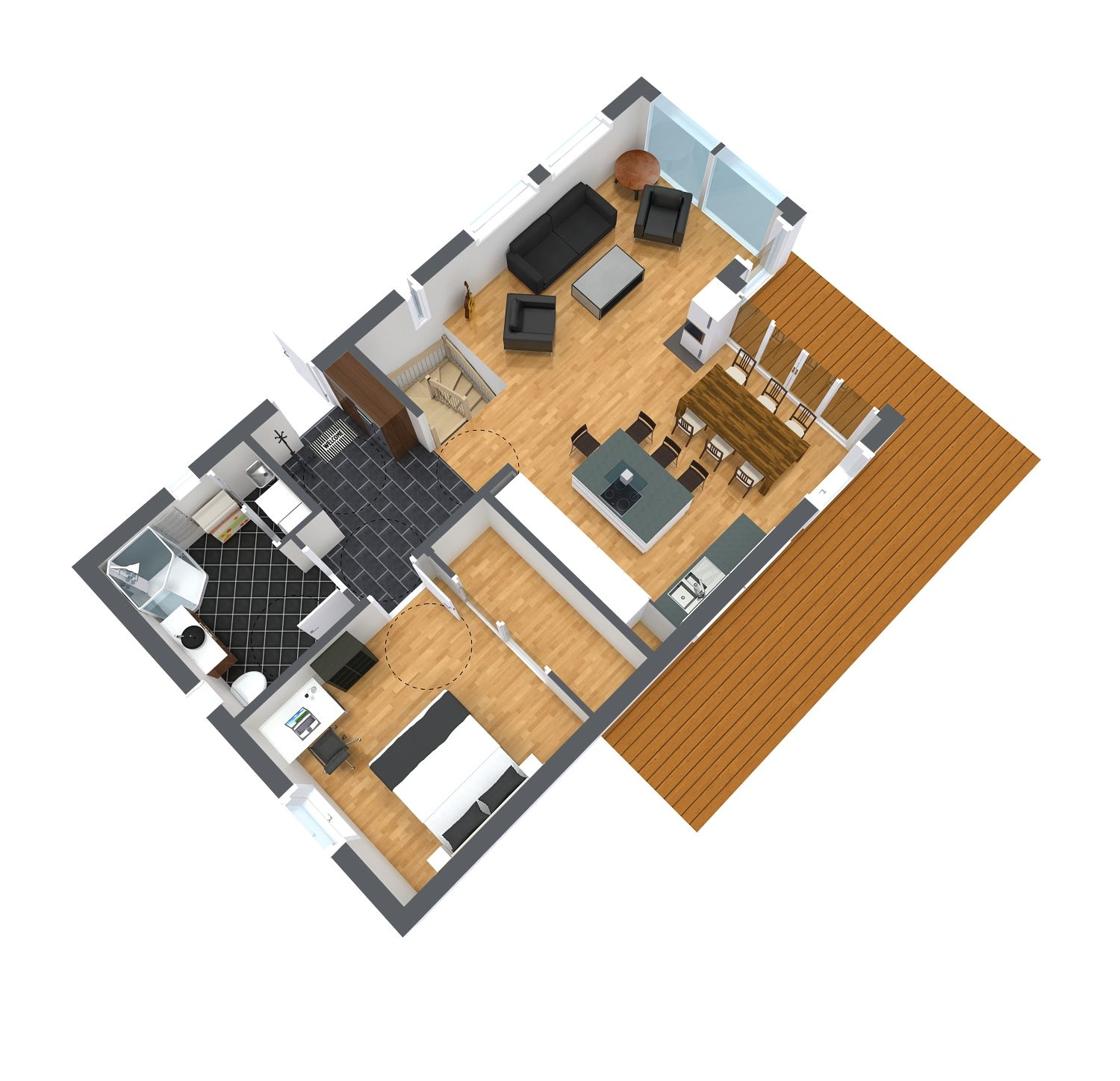 3d floor plan for first floor featuring multiple for Www floorplanner