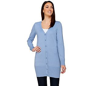 Button amp; Cardigan Long Front Co Denim Sleeve Tunic PExaBBwq