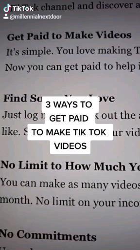 3 Ways To Get Paid Tik Tok Video Money Making Hacks Aesthetic Words Online Earning