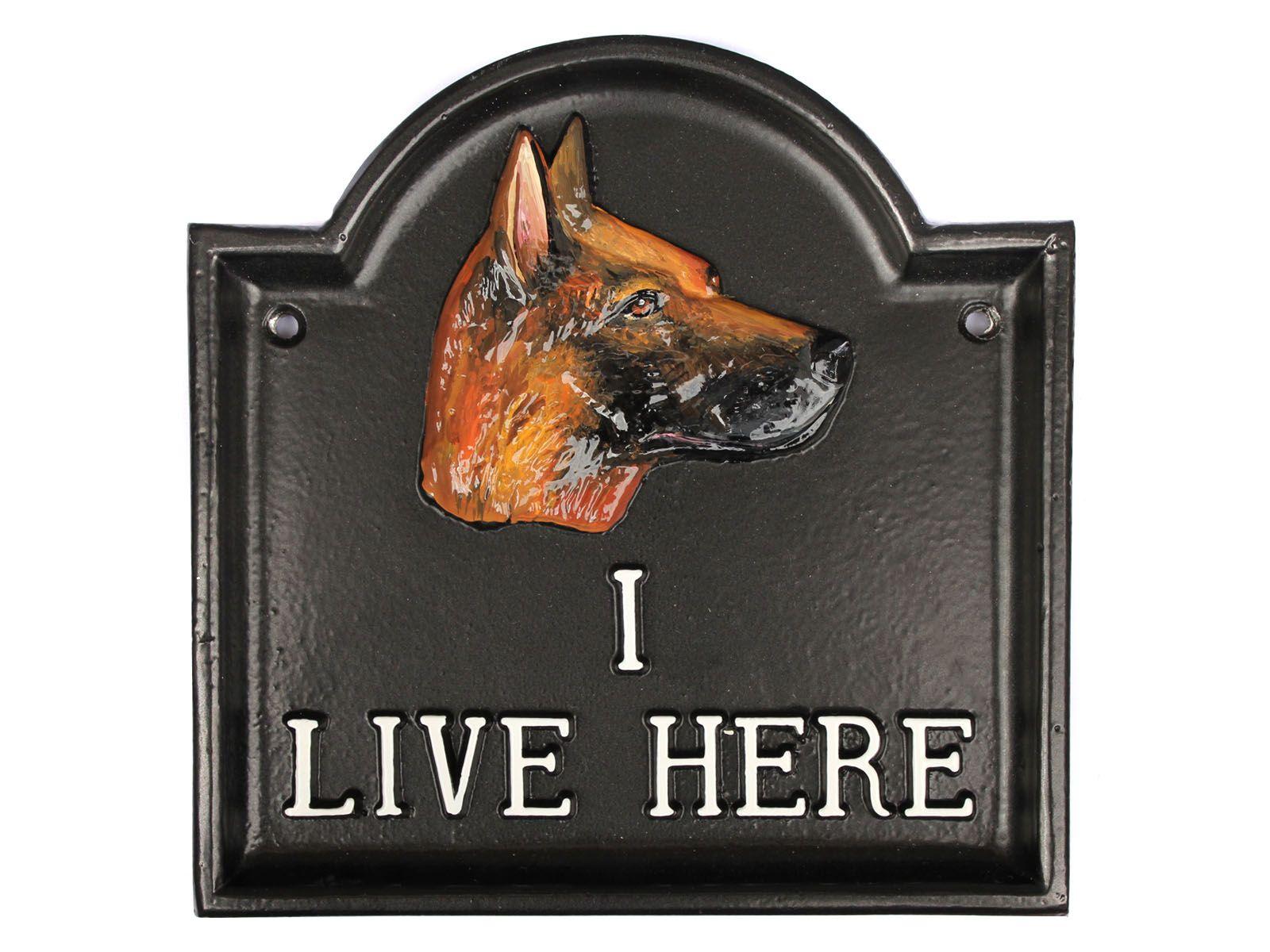 I Live Here German Shepherd Dog Sign German shepherd