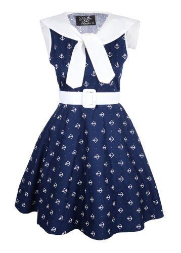 Kleid Küstenluder LEIAH Anker 50s Anchor Sailor Swing DRESS Blau Rockabilly