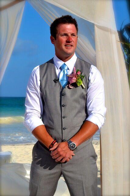 Groom Beach Wedding Attire Gray Vest With Blue Tie With