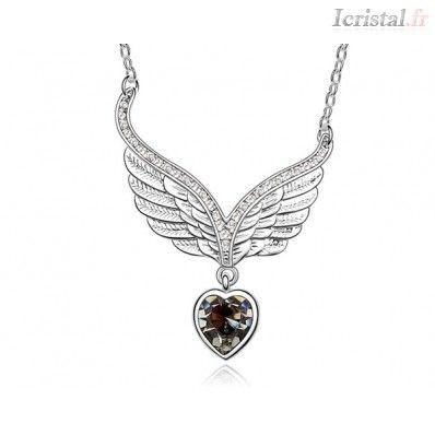 Heart necklace & Angel Wing Swarovski Crystal
