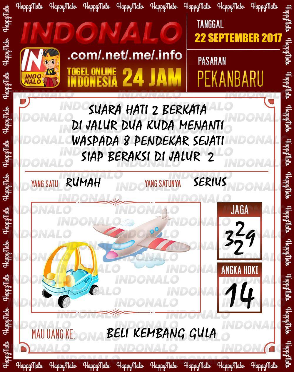 Colok 2D Togel Wap Online Indonalo Pekanbaru 22 September 2017