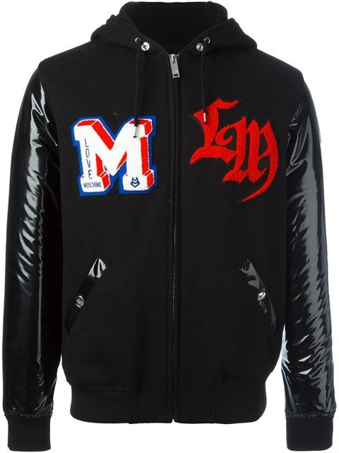 LOVE MOSCHINO patch detailing hooded bomber jacket.  lovemoschino  cloth   jacket b179c3cc23f3