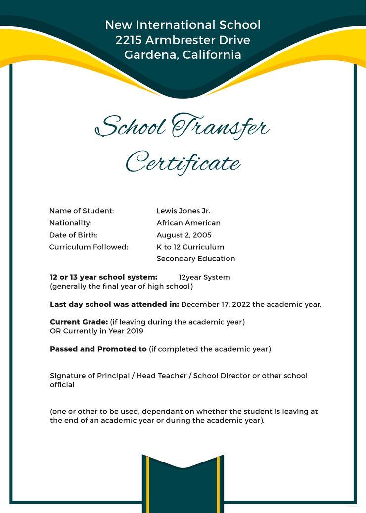 free school transfer certificate