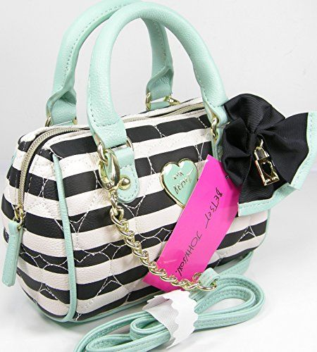 New Betsey Johnson Purse Cross Body Mini Barrel Satchel Bag Black Bone Mint