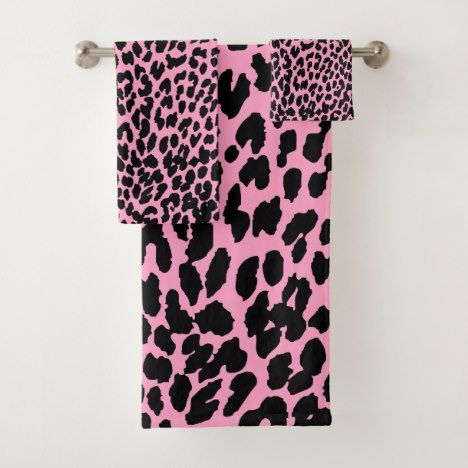 Custom color leopard animal print bath decor bath towel ...