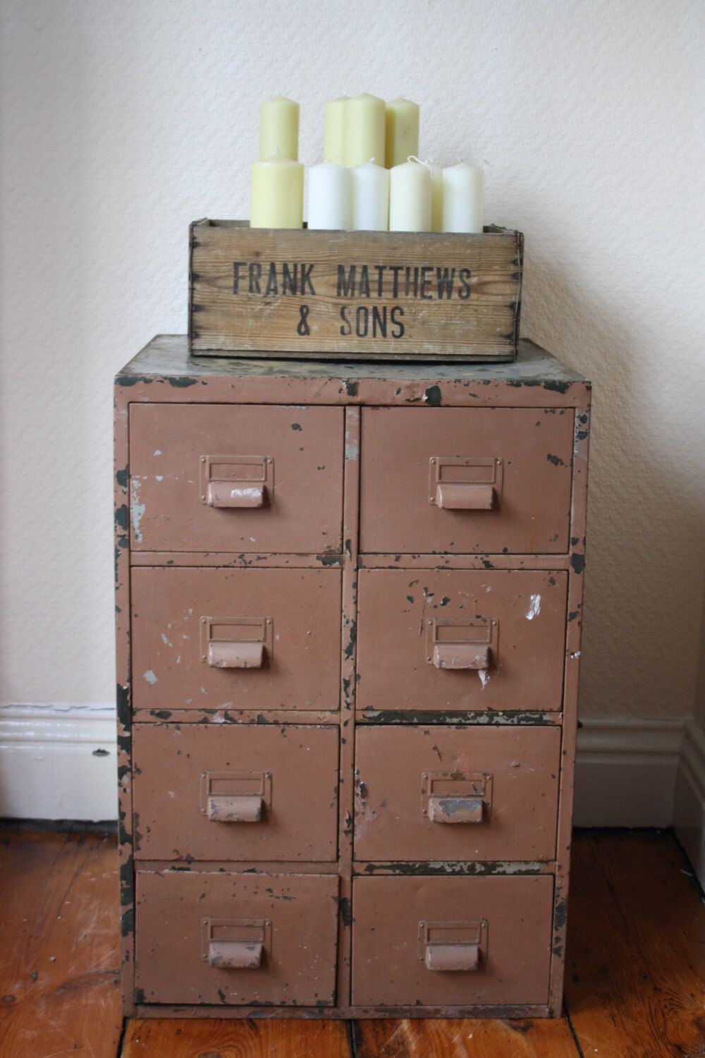 Original Vintage Industrial 8-Drawer Steel Filing Cabinet by ...