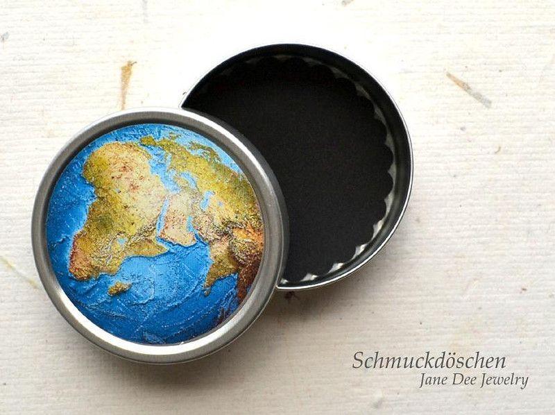 Schmuckdosen - Schmuckdöschen Weltkugel - ein Designerstück von JaneDeeJewelry bei DaWanda