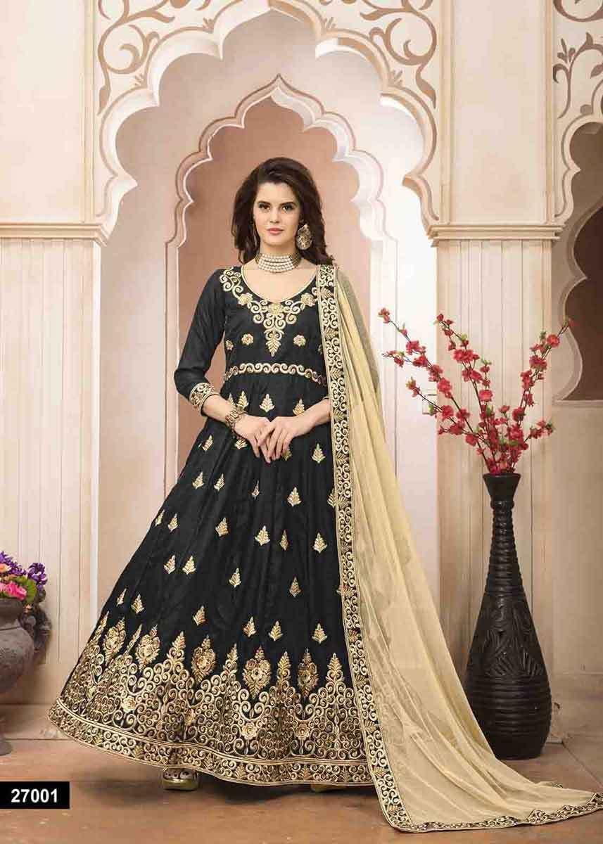 730a624776 Classic Heavy Embroidery Bangalori Silk Black Color Anarkali Suit in ...