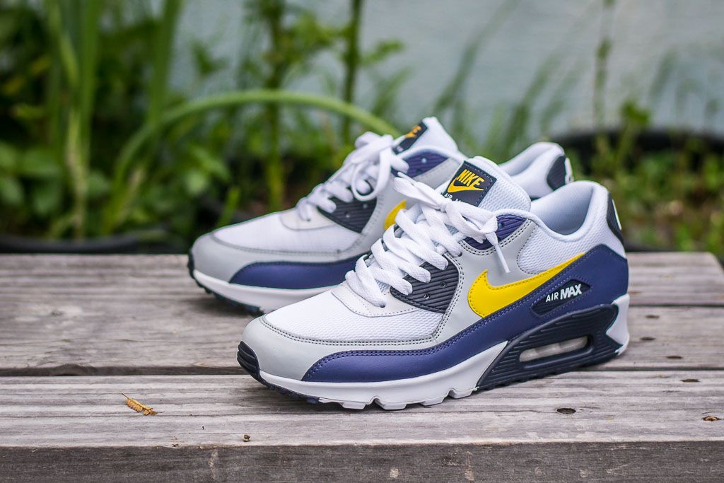 buy popular 2e697 abd89 Check out this pickup video of the Nike Air Max 90 Essential Blue Recall.  Find out where you can still buy a pair of these White Blue Yellow kicks  online!