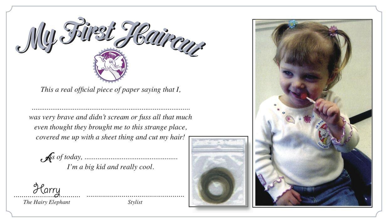 Babys First Haircut Certificate Ballwin Salon Pinterest