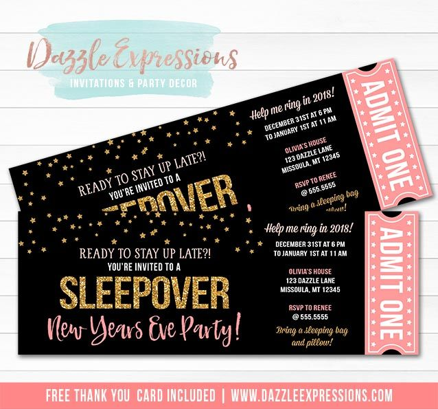 Printable New Years Eve Sleepover Ticket Invitation | Pink ...