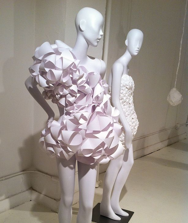 """An interdisciplinary group of 50 Pratt students were challenged to a semester-long study in texture and form to dress Pucci's Spring 2011 """"GIRL 2"""" mannequins entirely in paper."""