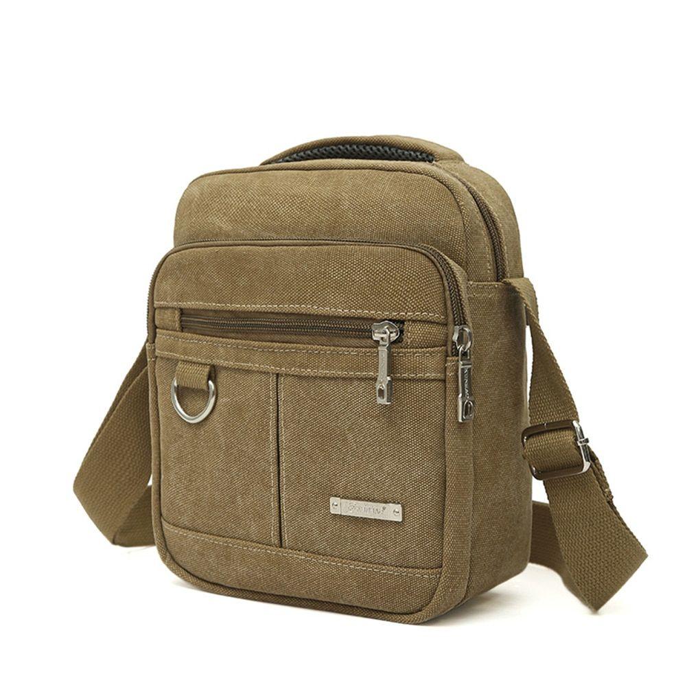 Mens Canvas Travel School Satchel Crossbody Shoulder Bag Pockets Messenger Pouch