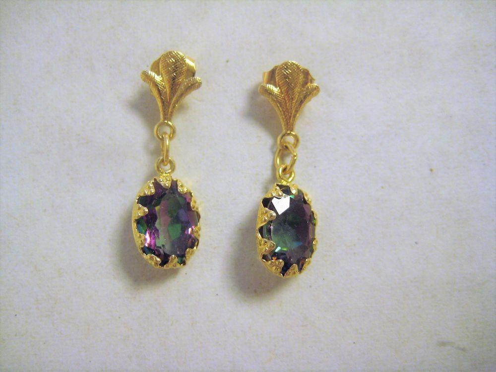 14k Gold Drop Dangle Earrings Watermelon Color Stone 585 Zz Dropdangle