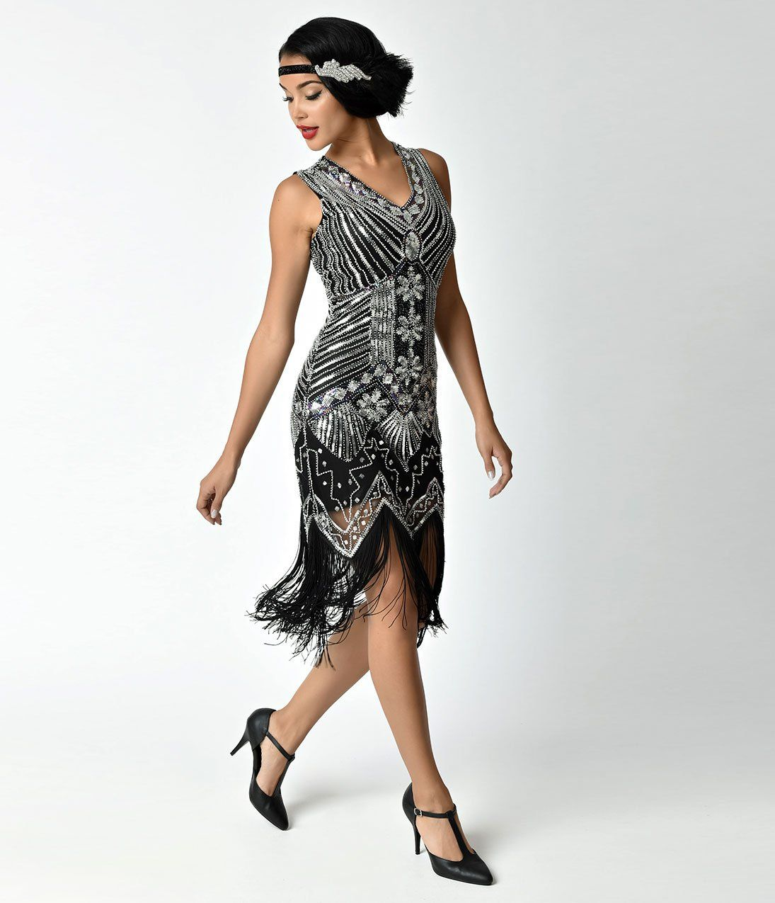 ceedc8320149 1920s Style Dresses, 20s Dresses Art Deco Silver and Black Veronique Fringe Flapper  Dress at Vvintagedancer