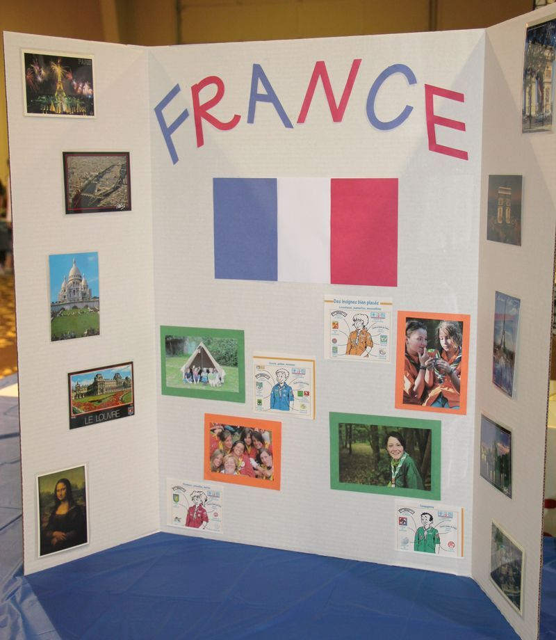France booth tri fold display world thinking day for Creative poster board ideas