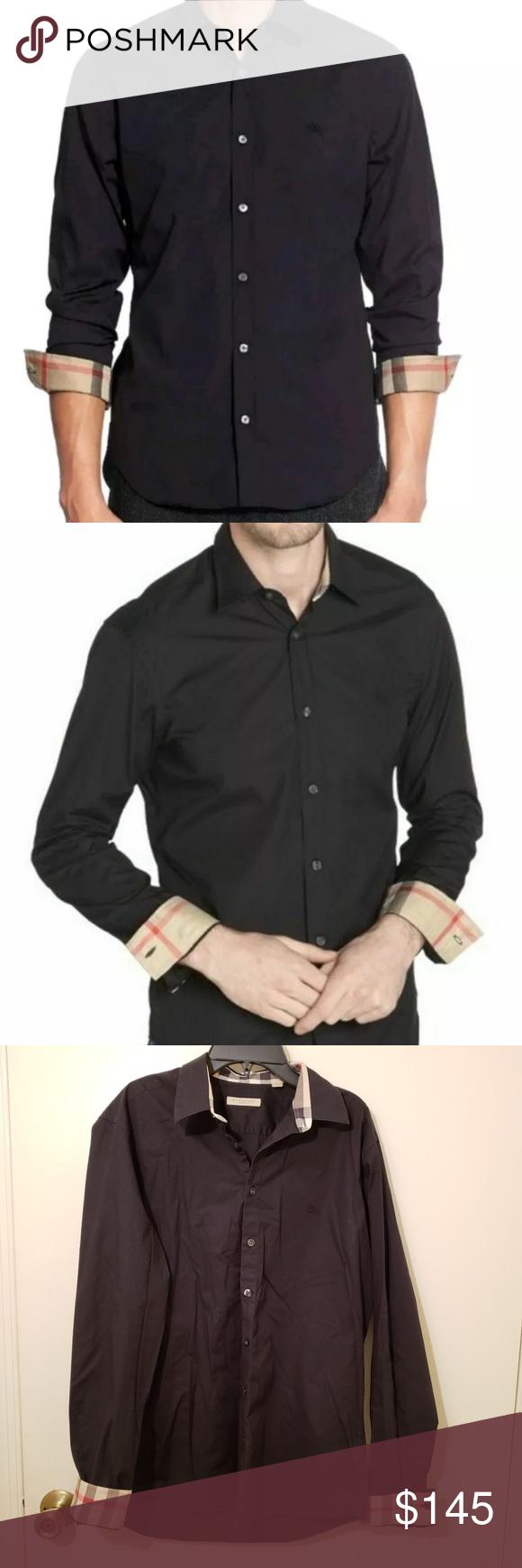 Burberry Brit Black Shirt Large Nova Cuff Black Shirt Dress Mens Shirt Dress Black Shirt [ 1740 x 580 Pixel ]