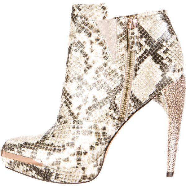 Pre-owned Herve Leger Platform Ankles Boots ($225) ❤ liked on Polyvore featuring shoes, boots, ankle booties, animal print, snakeskin ankle boots, leather boots, leather bootie, leather platform booties and ankle boots