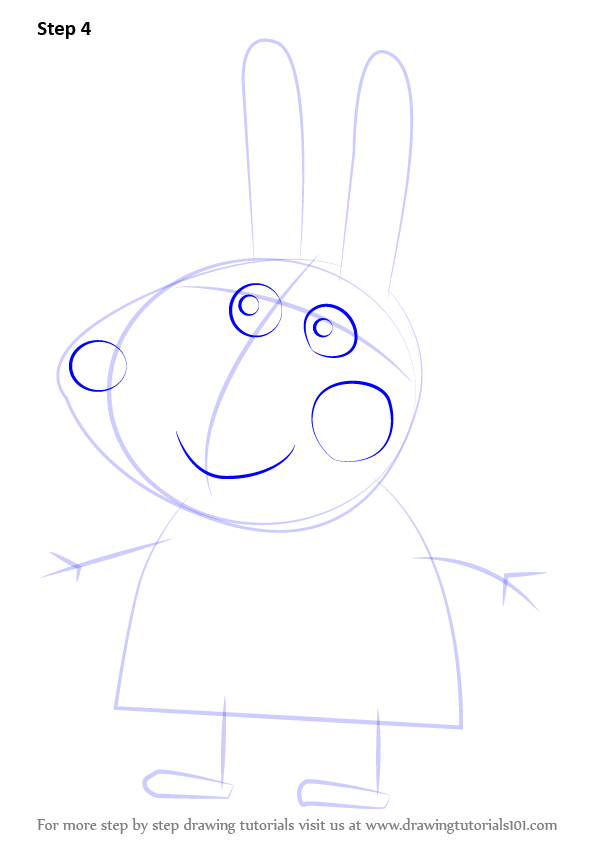 Learn How To Draw Richard Rabbit From Peppa Pig Peppa Pig Step By Step Drawing Tutorials Peppa Pig Drawing Tutorial Drawings