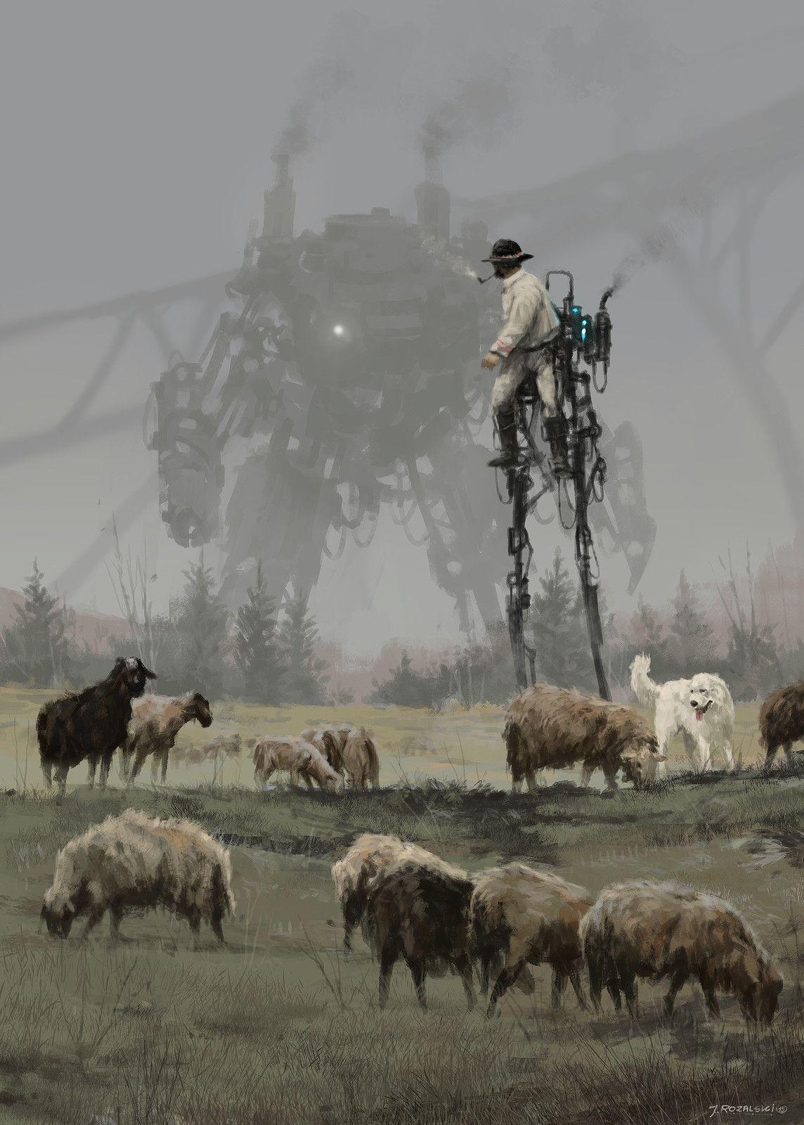 1920 - shepherd, Jakub Rozalski on ArtStation at https://www.artstation.com/artwork/V85GR
