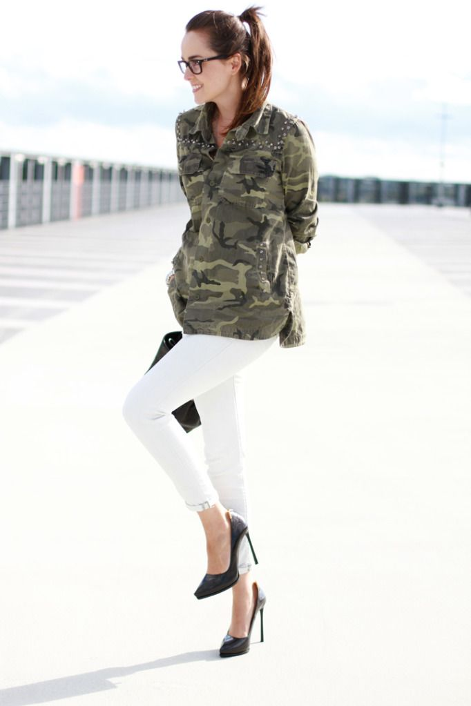 31c0311806 army jacket and white jeans outfit. how to wear a camo shirt jacket