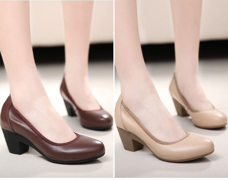 New Women's Genuine Leather Classic Shoes Medium Block Heel Round Toe Shoes