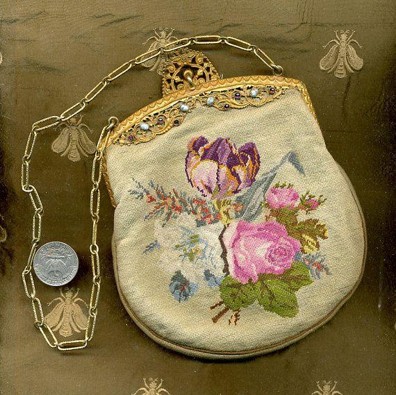 61c39e174fc66 1900 - 1920s Trinityplate Jeweled Petit Point Purse
