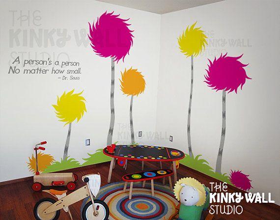 Children Wall Decals Wall Sticker - Lorax Truffula Trees Wall decal ...