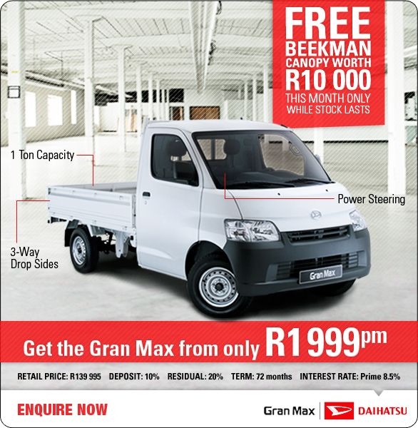 FREE Beekman Canopy worth R10 000 with the new Daihatsu Gran Max LDV from R1 999pm  sc 1 st  Pinterest & FREE Beekman Canopy worth R10 000 with the new Daihatsu Gran Max ...