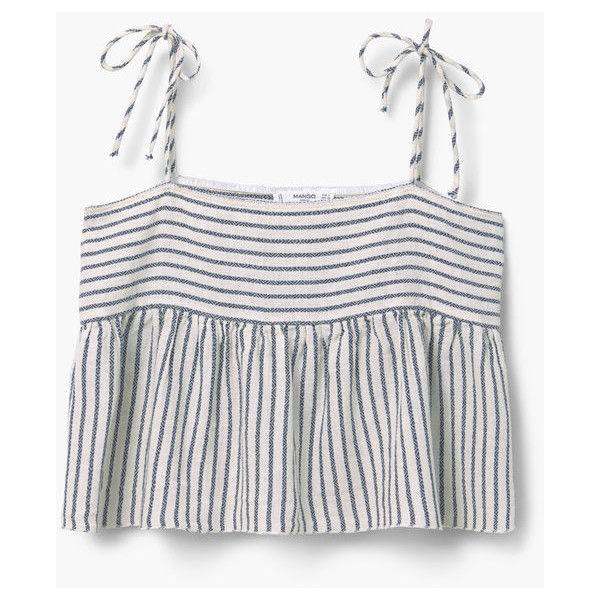 96f5d6eb50 MANGO Striped Cotton-Blend Top ( 40) ❤ liked on Polyvore featuring tops