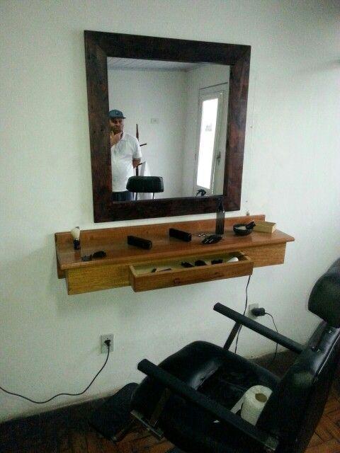 Bancada De Barbeiro Mais Moldura Para Espelho Barbershop Bench