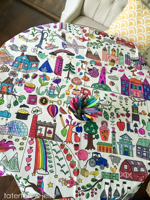 Easy Kids Activity Idea Tablecloth Coloring Tatertots And Jello Easy Kid Activities Activities For Kids Easy Kids