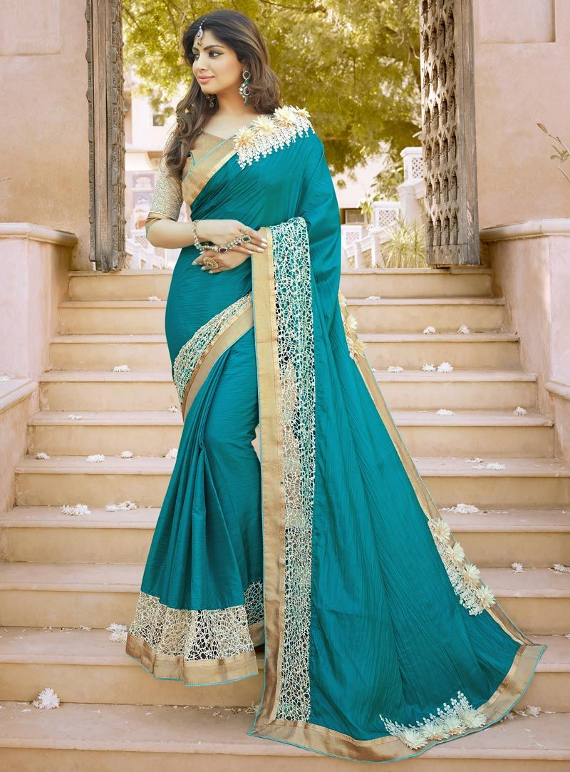 Buy Teal Georgette Party Wear Saree 88514 with blouse online at ...