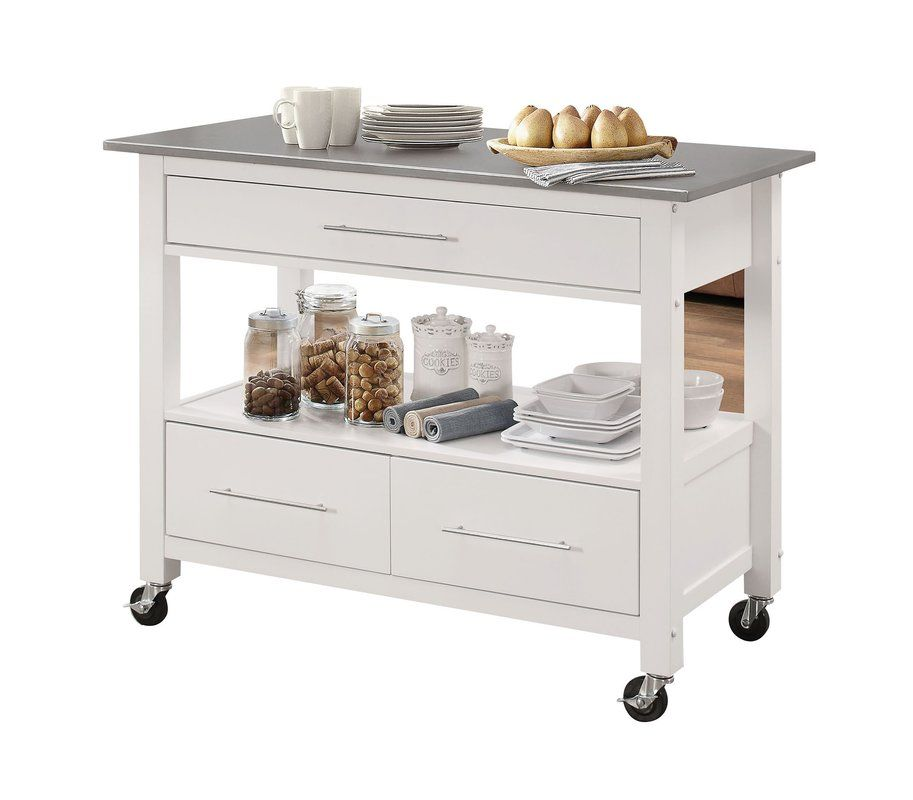 Monongah Rectangular Kitchen Cart With Stainless Steel Top In 2019 For The Home Portable Kitchen Island Kitchen Tops Kitchen Cart