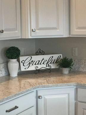 Greatful Sign, Hand Painted Sign, Wood Sign, Farmhouse Decor, Distressed Sign, Country Decor, Shabby Chic, Rustic Sign, Fathers Day Sign #kitchendecorideas