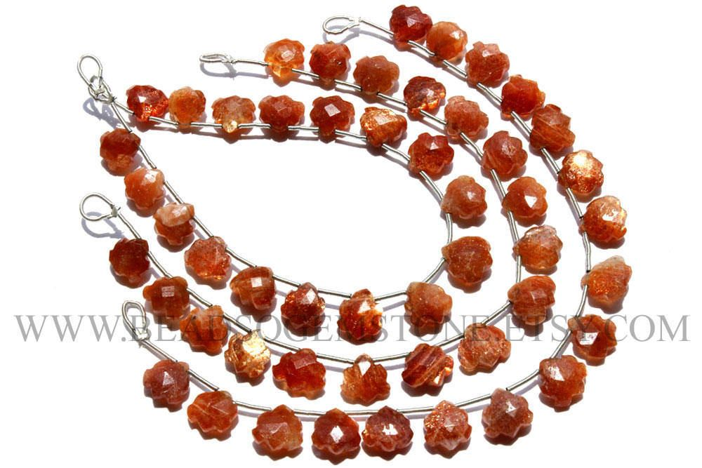 Semiprecious Stone, Sunstone Faceted Carved Heart (Quality A+) / 8.5 to 10.5 mm / 18 cm / SU-058 by beadsogemstone on Etsy #sunstonebeads #gemstones #semipreciousstones #briolettes