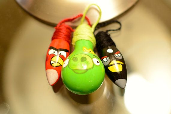 Mini angry birds ornament trio by justj12 on etsy - Angry birds trio ...