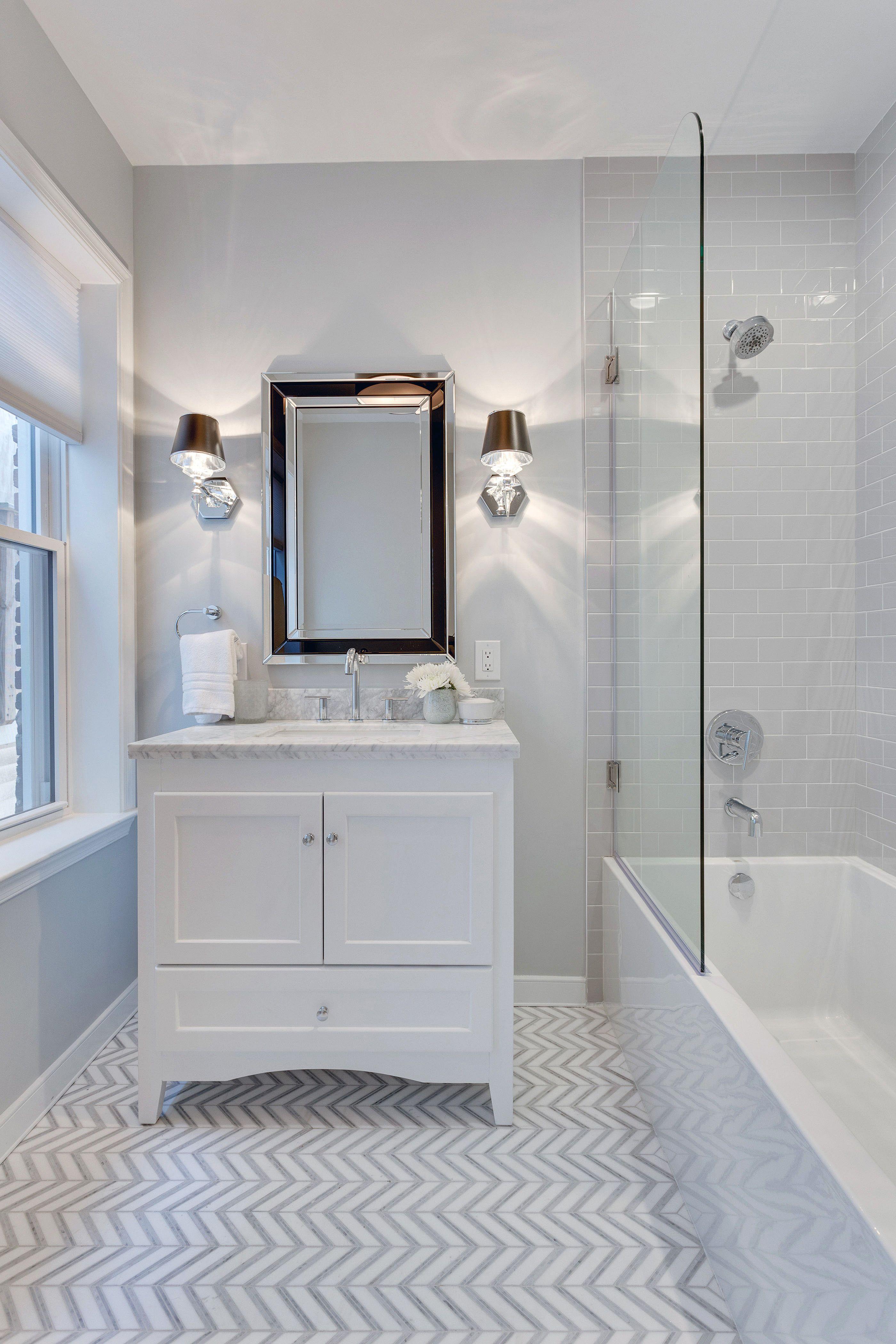 Gray And White Bathroom With Chevron Marble Floor Tile The Ransom Company Stylish Bathroom Bathroom Interior Design Beautiful Bathrooms