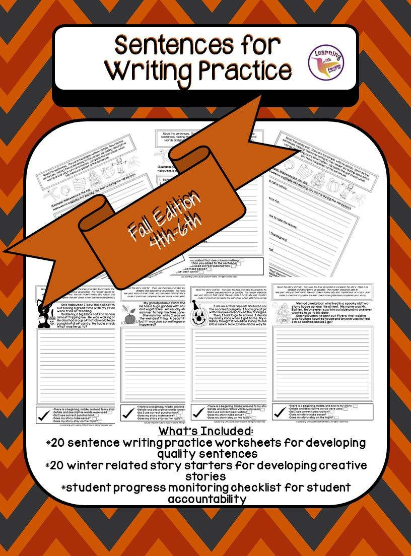 Sentences For Writing Practice 4th 5th 6th Fall Edition In 2020 Writing Practice Writing Practice Worksheets Substitute Teaching