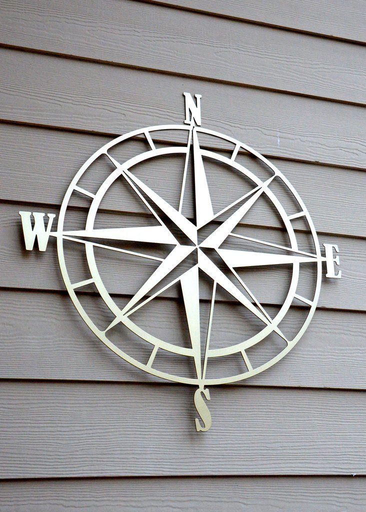 Nautical Compass Rose Metal Wall Art | Compass wall decor ...